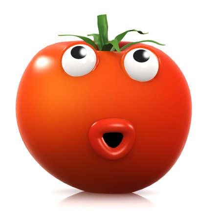 home grown: 3d render of a tomato receiving a shock