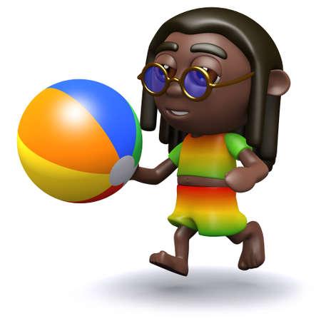 rastafarian: 3d render of a rastafarian playing with a beach ball