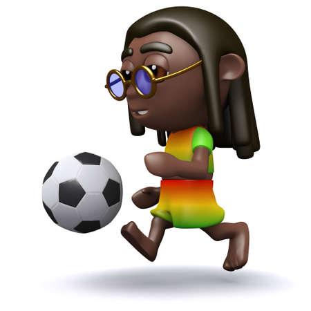 jah: 3d render of a rasta playing football