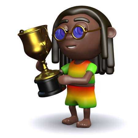 jah: 3d render of a rastafarian holding a gold winners cup Stock Photo