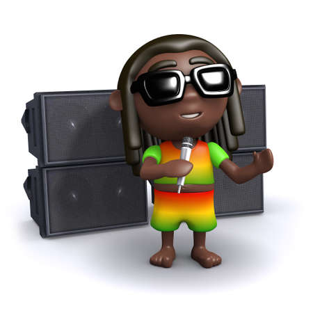 jah: 3d render of a rastafarian singing in front of a pa system
