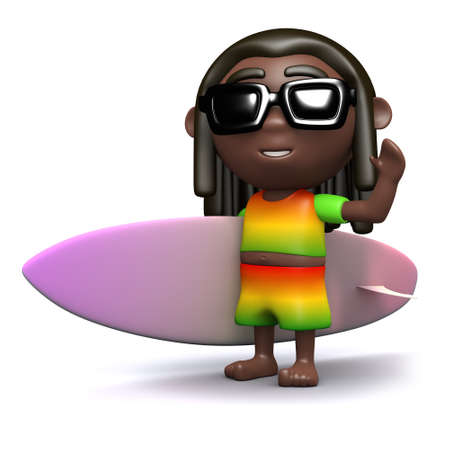 rastafarian: 3d render of a rastafarian holding a surfboard Stock Photo
