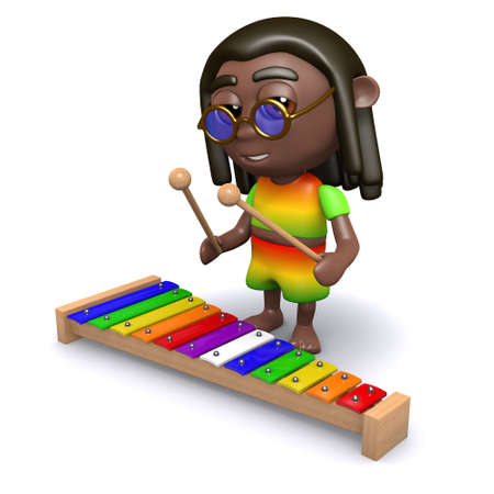 jamaican man: 3d render of a rastafarian playing a xylophone