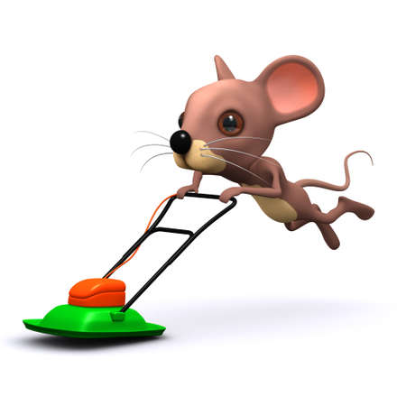 mowing the lawn: 3d render of a mouse mowing the lawn