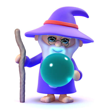 3d render of a wizard with a crystal ball photo