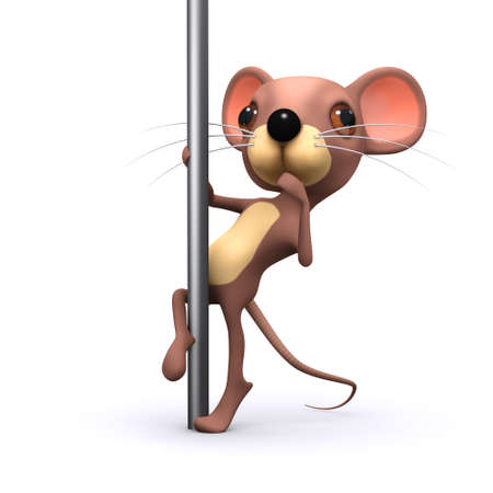 3d render of a mouse pole dancing photo