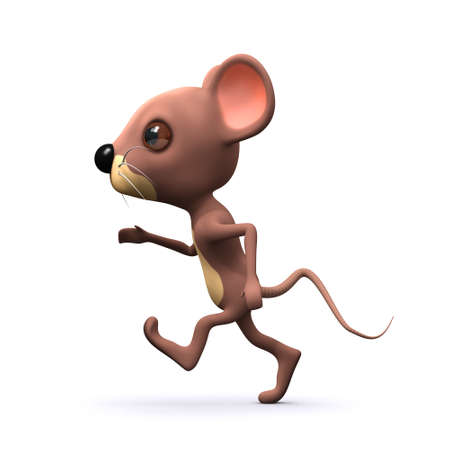 3d render of a mouse running photo