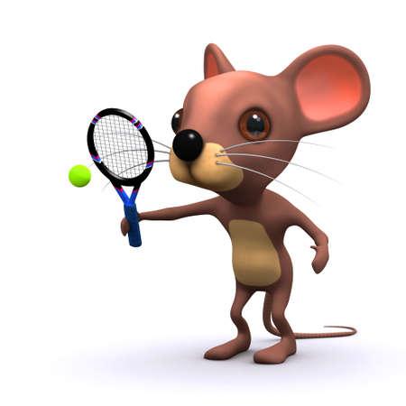 rata caricatura: Procesamiento 3D de un juego de tenis de rat�n