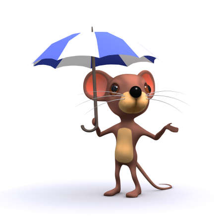 3d render of a mouse under an umbrella Stock Photo - 27191514