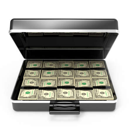 laundering: 3d render of a briefcase full of dollars