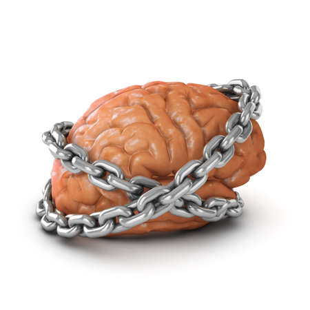 detained: 3d render of a brain bound by chains Stock Photo