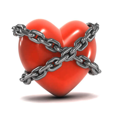 confined: 3d render of a heart bound by chains Stock Photo