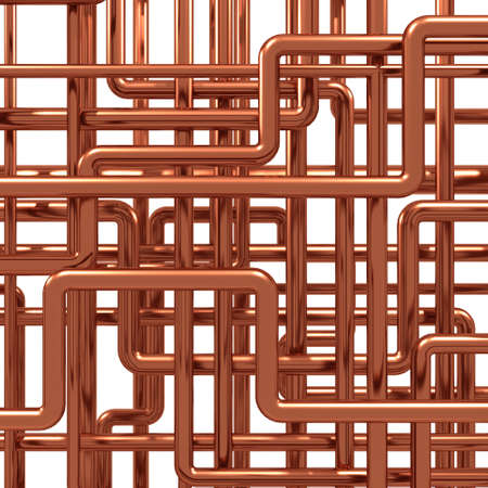 3d render of a knot of copper pipes