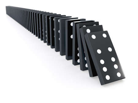 domino effect: 3d render of a row of black dominos falling Stock Photo