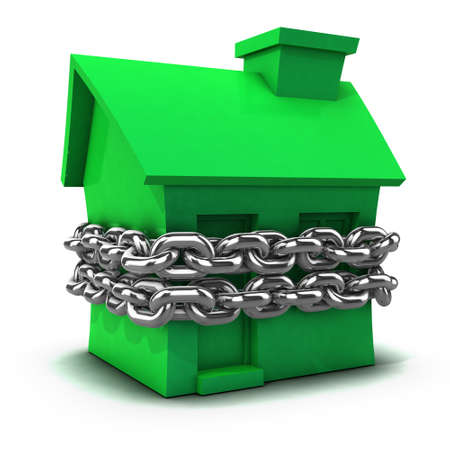 detained: 3d render of a green house bound by a chain Stock Photo