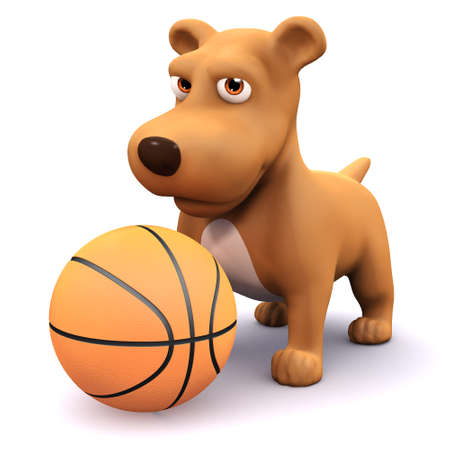 mongrel: 3d render of a dog playing with a basketball