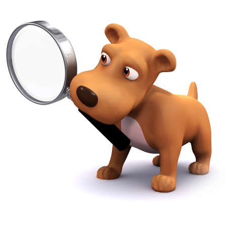 3d render of a dog holding a magnifying glass in his mouth photo