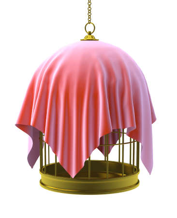 3d render of a gold birdcage with red cloth draped over photo