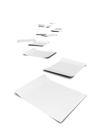 whistleblower: 3d render of documents forming a trail to the horizon