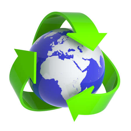 recycle symbol: 3d render of a globe surrounded by recycle symbol Stock Photo