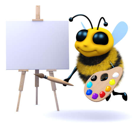 pollinate: 3d render of a bee painting a picture