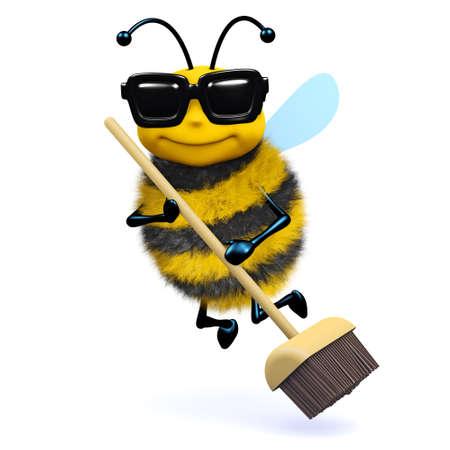 escoba: 3d de una abeja con una escoba Foto de archivo
