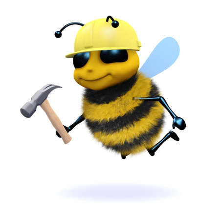 3d render of a bee working in construction photo