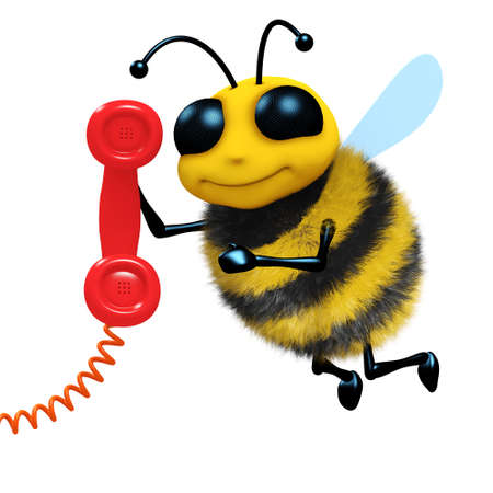 answering phone: 3d render of a bee answering the phone Stock Photo