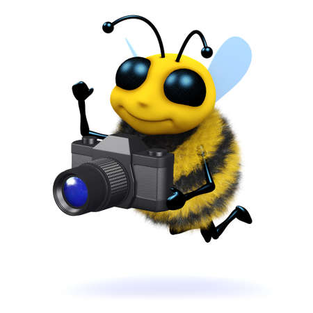 3d render of a bee with a camera photo