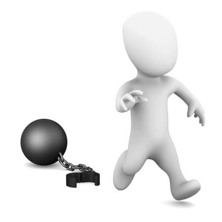 3d render of a little person running from a ball and chain photo