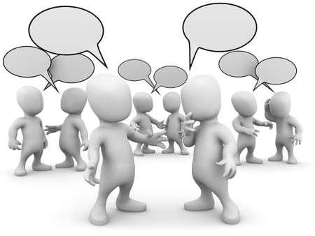 personas platicando: 3d de la peque�a gente hablando entre s� Foto de archivo