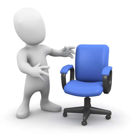 3d render of a little person next to an empty chair photo