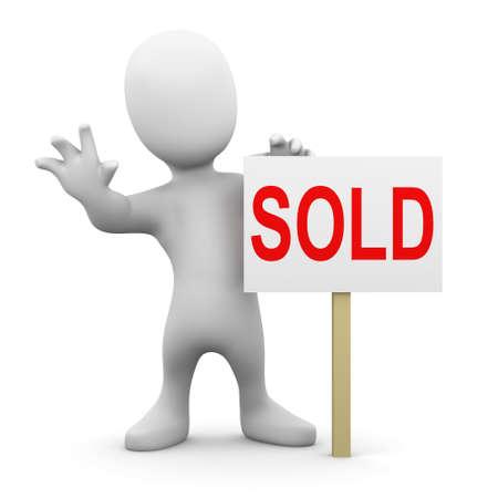 """sold small: 3D rendering di una piccola persona con un cartello """"Sold"""""""