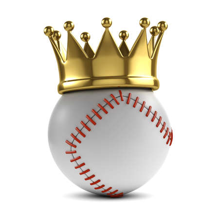 atop: 3d render of a baseball with gold crown atop