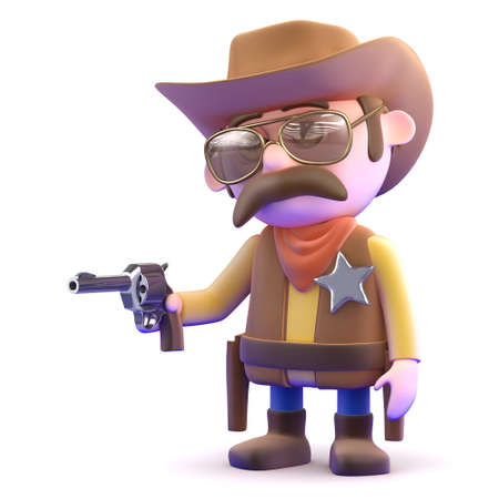3d render of a cowboy pointing a pistol photo