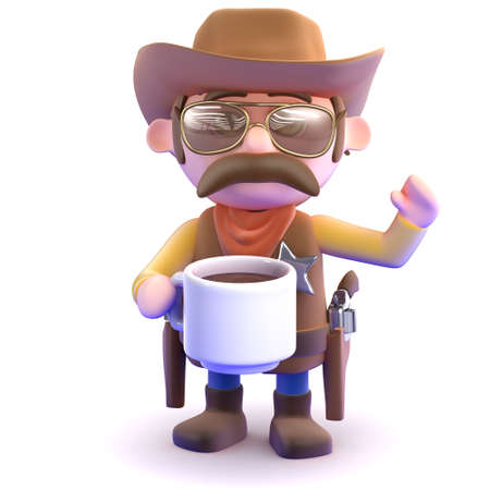 3d render of a cowboy with a cup of coffee photo