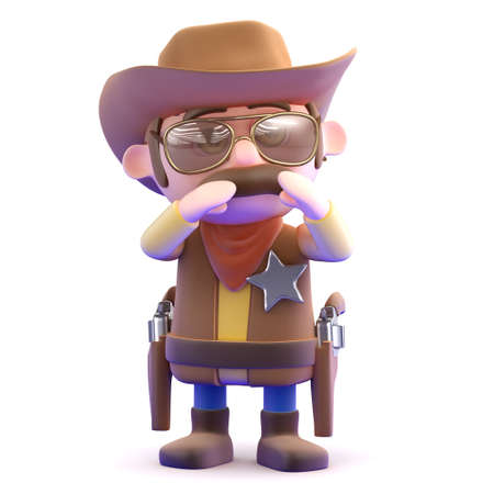 3d render of a cowboy shouting photo