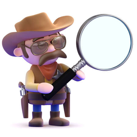 gunslinger: 3d render of a cowboy with a magnifying glass