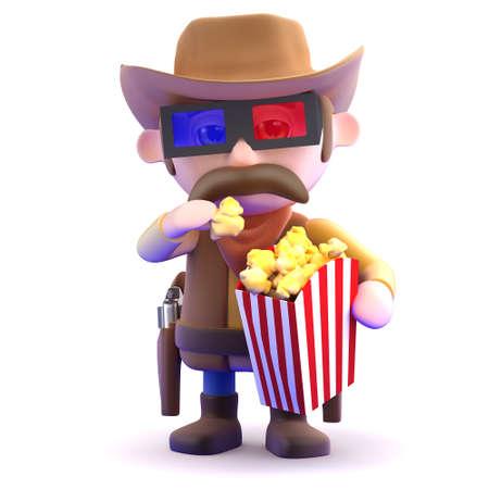 gunslinger: 3d render of a cowboy eating popcorn at the movies