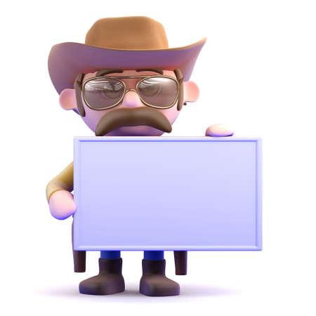 gunslinger: 3d render of a cowboy holding a blank banner