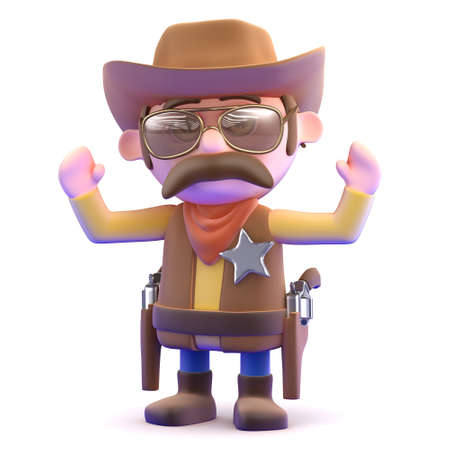 3d render of a cowboy with his hands in the air photo