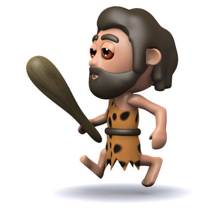 3d render of a caveman running with his club in hand photo