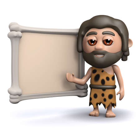 blackboard cartoon: 3d render of a caveman with a blank sign made of bone