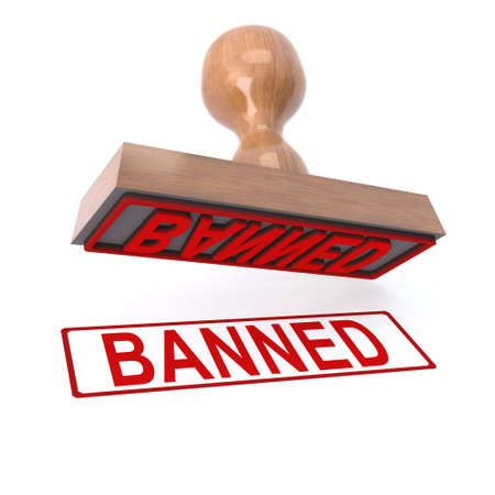 banned: 3d render of a rubber stamp marked Banned Stock Photo