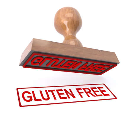 marked: 3d render of a rubber stamp marked Gluten free Stock Photo