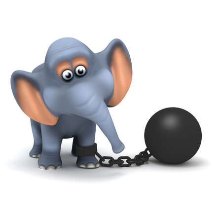 restrained: 3d render of an elephant with a ball and chain