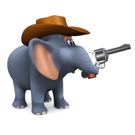 cartoon circus: 3d render of an elephant dressed as a cowboy and pointin a pistol