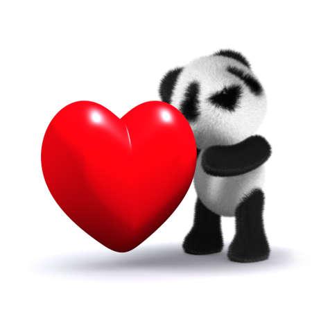 cuddling: 3d render of baby panda cuddling a red heart