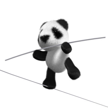 tightrope: 3d render of a panda on a tightrope