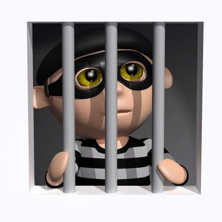 behind bars: 3d render of a burglar behind bars